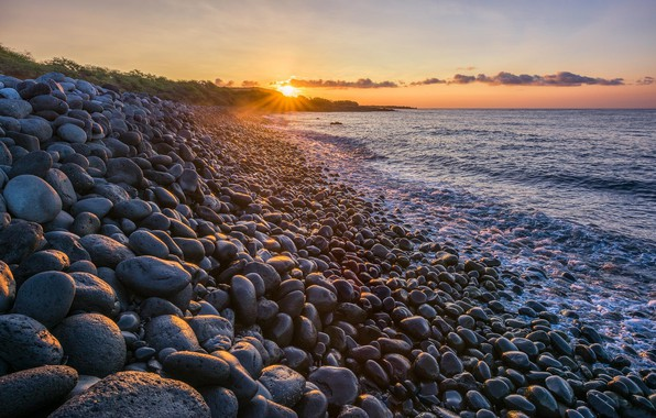 Picture Sunset, The sun, The evening, Shore, Stones, Dal, Slope, The sky