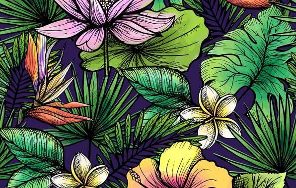 Picture leaves, flowers, background, texture