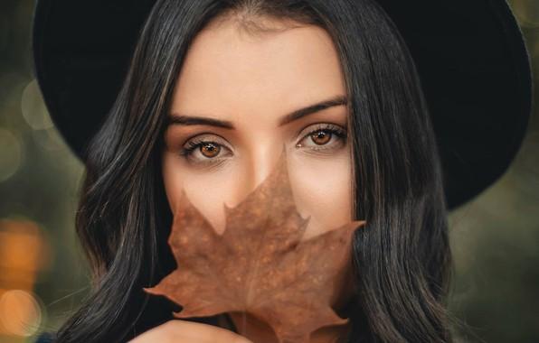 Picture autumn, eyes, look, girl, sheet, mood, Renato Abati