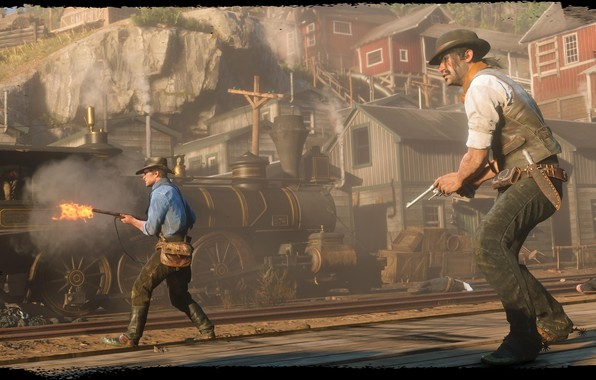 Picture rails, train, hat, revolver, Rockstar, Bandit, Red Dead Redemption 2, Arthur Morgan