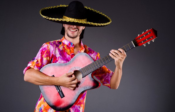 Picture pose, background, guitar, hat, outfit, male, shirt, guy, musician, Mexican, sambrero