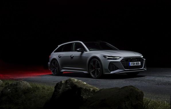 Picture night, stones, Audi, roadside, universal, RS 6, 2020, 2019, V8 Twin-Turbo, RS6 Avant, UK-version