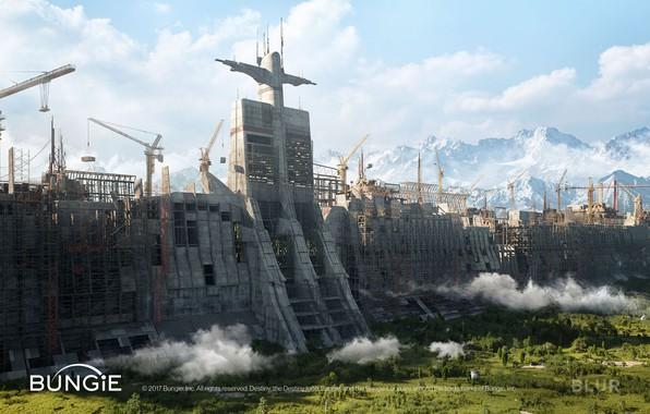 Picture construction, construction, cranes, Destiny 2, Tower Plaza Walls