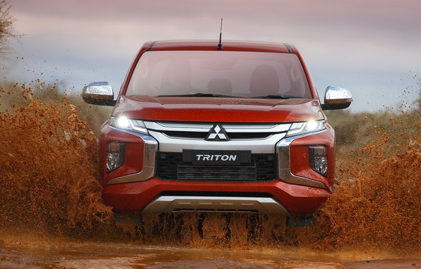 Picture water, dirt, Mitsubishi, front view, pickup, Double Cab, L200, Triton, 2019