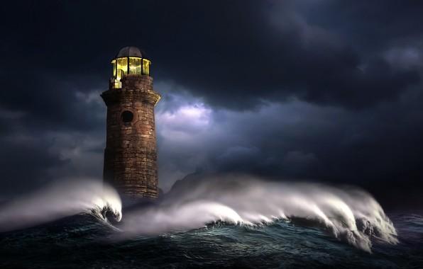 Picture sea, wave, light, night, clouds, storm, graphics, lighthouse, digital art, nikos Bantouvakis