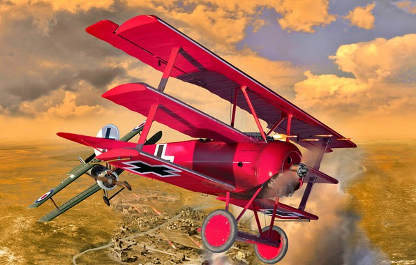 Picture Biplane, Dogfight, Sopwith Camel, Triplane, The first World war, Fokker DR.I, Rotative engine