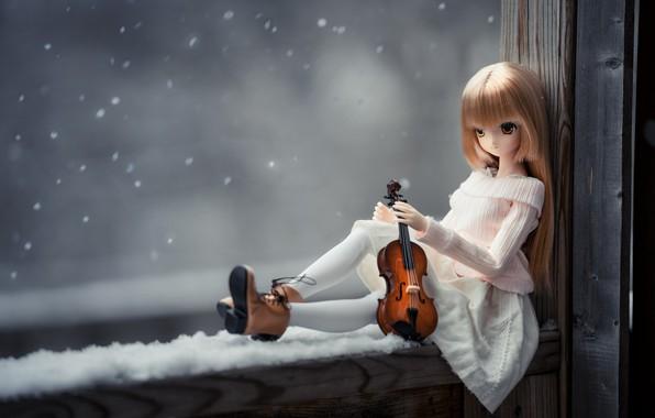 Picture mood, violin, doll, window