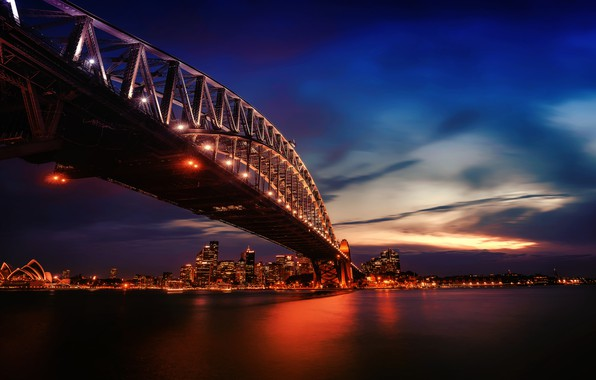 Picture city, lights, twilight, photography, bridge, sunset, water, city lights, evening, Australia, Sydney, buildings, architecture, skyscrapers, …