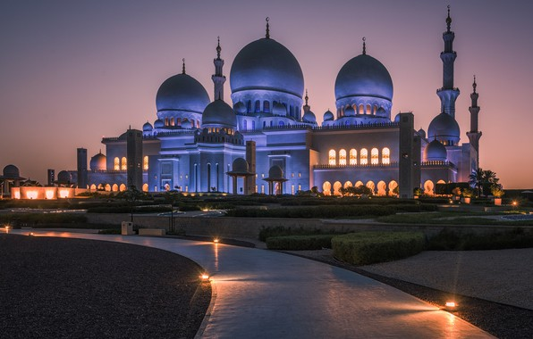 Picture night, mosque, UAE, minarets