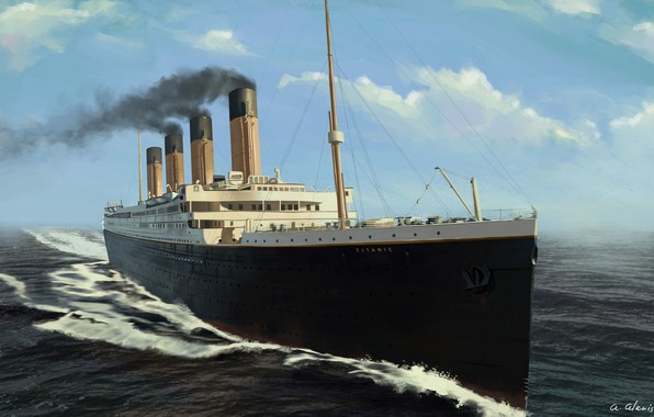 Picture The ocean, Sea, Figure, Titanic, The ship, Nose, Painting, Titanic, Rendering, Tank, RMS Titanic, Cruise ...