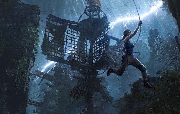 Picture lara croft, rain, long hair, jungle, jump, shoes, concept art, dlc, adventure, trap, brunnete, thunderstorm, …