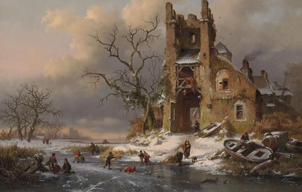Picture 1858, Dutch painter, Dutch artist, oil on canvas, Fredrik Marinus Kruseman, A winter scene with …