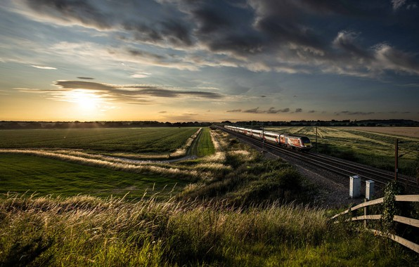 Picture field, summer, sunset, train, railroad
