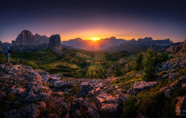 Picture rays, nature, rocks, dawn, valley, Luke Watschinger