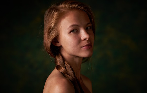 Picture portrait, freckles, braid, the beauty, Kateryna Tkachenko, Max Fawn
