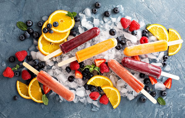 Picture ice, berries, raspberry, oranges, blueberries, strawberry, ice cream, fruit