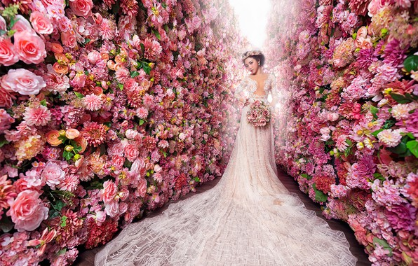 Picture girl, flowers, white, roses, beauty, bouquet, garden, dress, pink, Asian, the bride, luxury, a lot, …