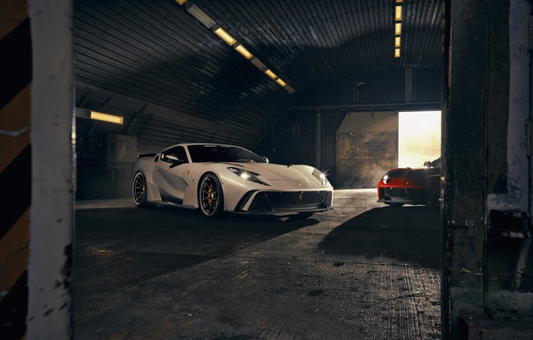 Picture light, machine, lights, hangar, Ferrari, sports car, Superfast, 812, Novitec N-Largo
