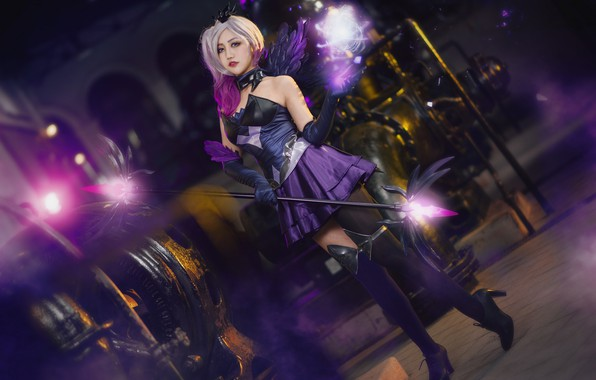 Picture purple, look, energy, girl, lights, pose, style, weapons, background, magic, feet, dark, wings, technique, stockings, …