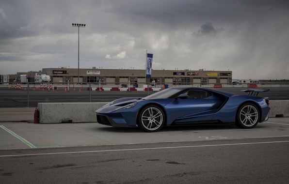 Picture the sky, asphalt, blue, overcast, Ford, Ford GT