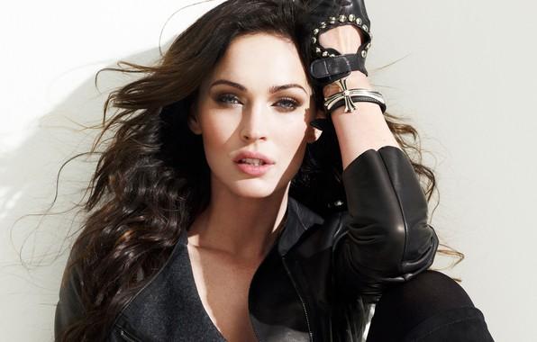 Picture look, girl, sexy, pose, Megan Fox, hair, actress, jacket, beautiful