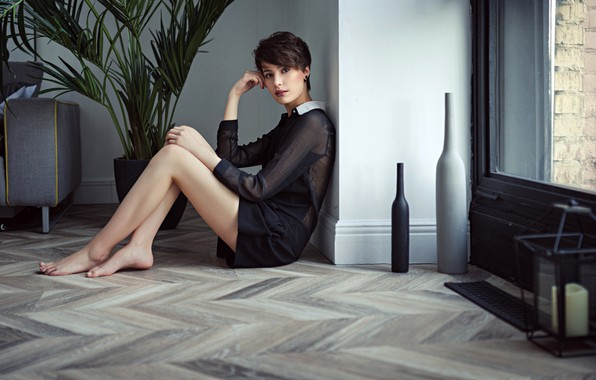 Picture look, girl, pose, room, portrait, interior, makeup, dress, brunette, hairstyle, legs, beautiful, sitting, on the …