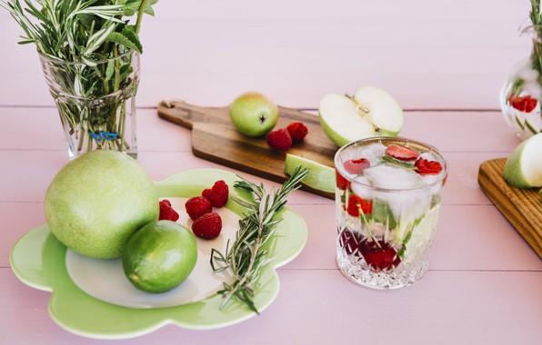 Picture raspberry, lemon, Lemonade