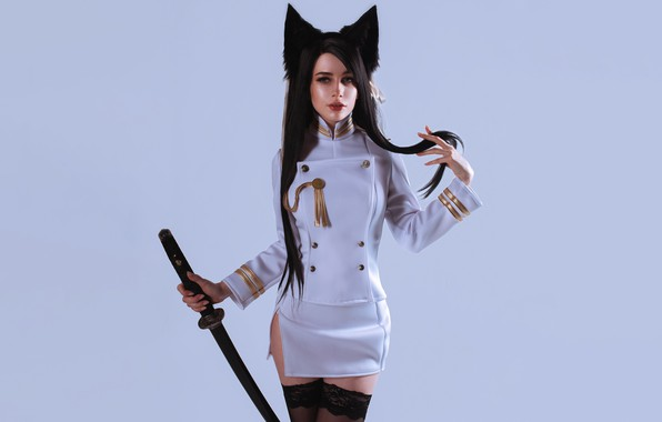 Picture girl, sexy, beautiful, pretty, brunette, erotic, attractive, handsome, Cosplay, Atago, Azur Lane