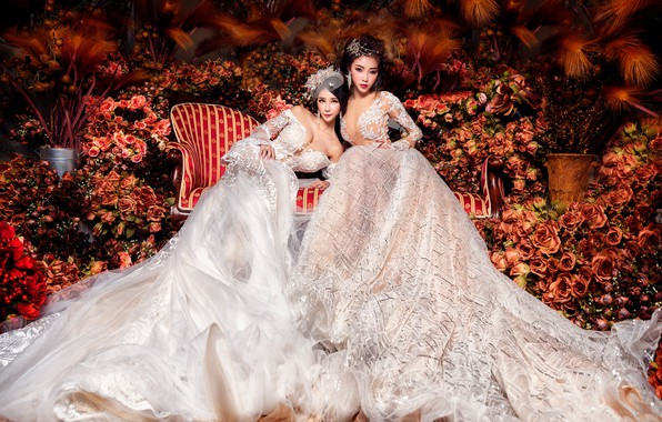 Picture flowers, girls, sofa, two, roses, garden, outfit, white, Duo, luxury, a lot, Asian girls, beauty, …