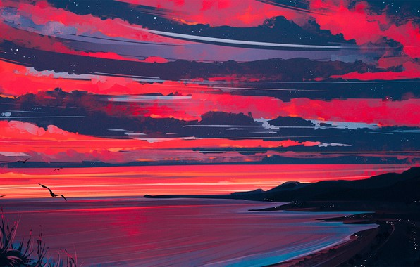 Picture Nature, Clouds, Sea, Figure, Shore, Heaven, Art, Aenami, by Aenami, Alena Aenam The, by Alena …