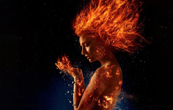 Picture fire, red, fantasy, girls, art, stars, orange, hair, rendering, digital art, hands, flames, pieces, girl …