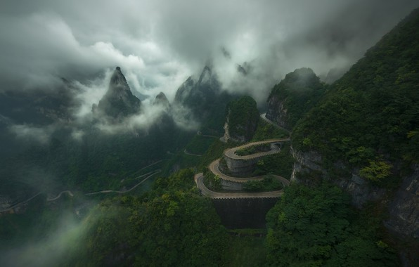 Picture road, the sky, clouds, mountains, China, China, road, sky, mountains, clouds, Zhu Xiao