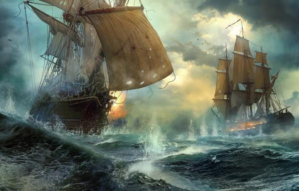 Picture ships, duel, sea battle, Duel, Vladimir Manyukhin