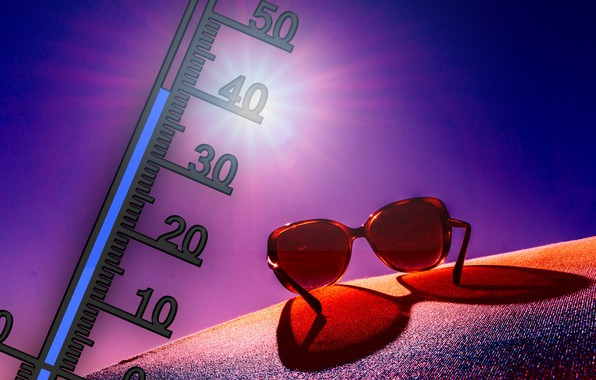 Picture summer, heat, glasses, thermometer
