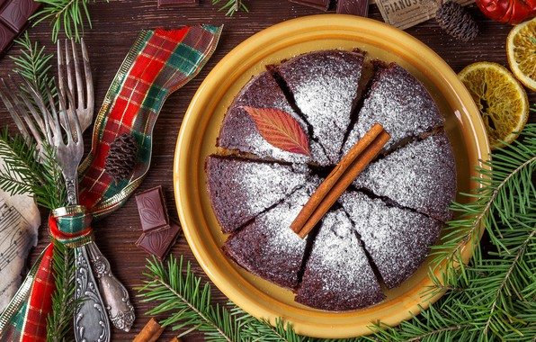 Picture tree, chocolate, Christmas, pie, New year, cakes, fork