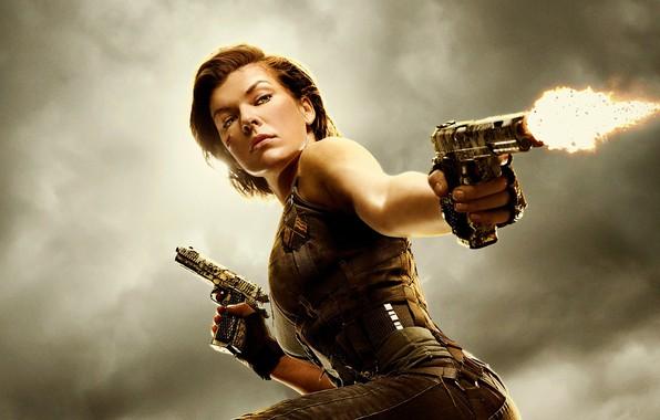 Picture gun, weapon, woman, Milla Jovovich, Milla Jovovich, Alice, Umbrella, Biohazard, Alice Abernathy, Resident Evil: The …