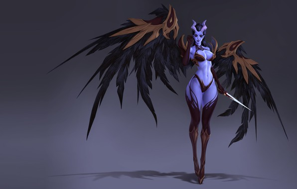 Picture wings, the demon, fantasy, art, horns, SERGEI SOROCHKIN, wip queen of pain