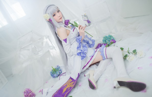 Picture white, purple, look, girl, flowers, face, pose, room, lilac, feet, tenderness, rose, interior, stockings, hands, …