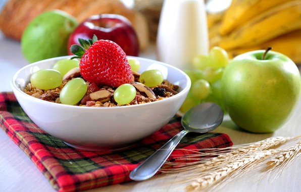 Picture berries, Apple, Breakfast, milk, strawberry, grapes, nuts, oatmeal, granola