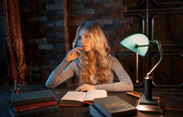 Picture girl, books, lamp, Table, pencil, Alisa Tarasenko, Alexey Kiselev
