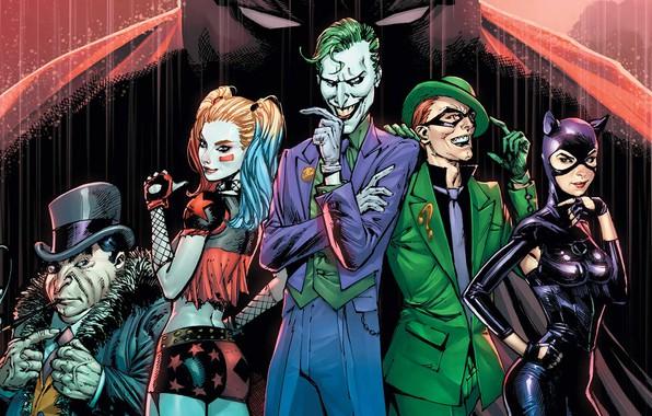 Picture fantasy, Batman, rain, Joker, comics, artwork, mask, Riddler, superheroes, costume, fantasy art, DC Comics, Catwoman, …