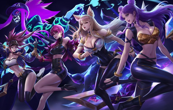 Picture Girls, The game, Art, Art, Girls, Game, Akali, League of Legends, LoL, Ahri, Evelynn, Ari, …