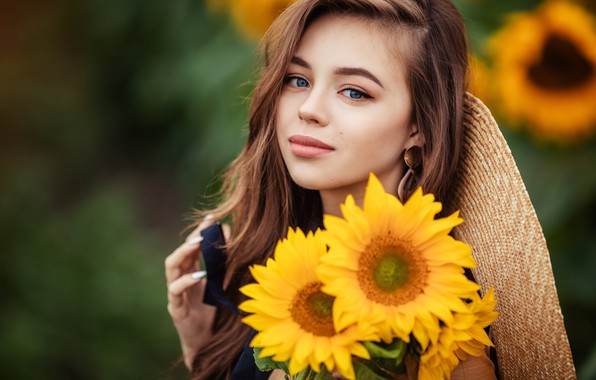 Picture sunflowers, flowers, girl