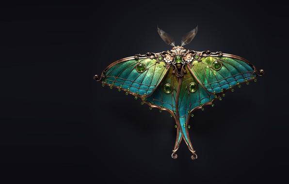 Picture art, moth, brooch, Sasha Vinogradova, Jewel moth