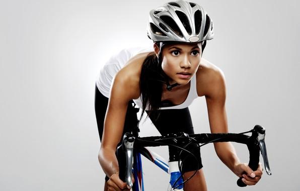 Picture girl, bike, background, sport, Mike, brunette, the wheel, helmet, fitness, athlete, leggings