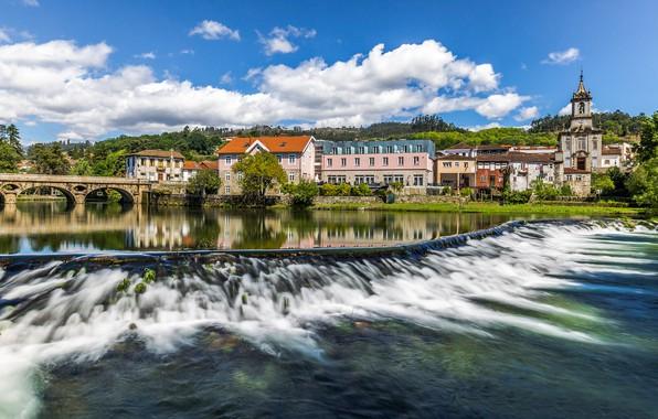 Picture bridge, river, building, home, Portugal, Portugal, Arcos de Valdevez, The River Vez, Arcos-de Valdevez, Vez ...