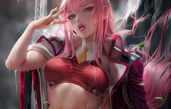 Picture girl, anime, art, Sakimichan, 002, Darling In The Frankxx, Cute in France