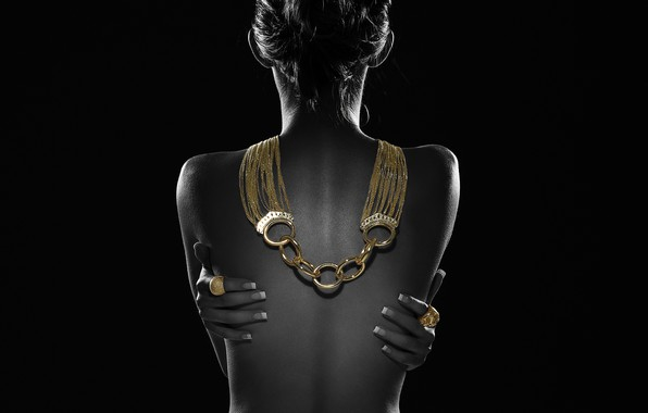 Picture girl, background, gold, back, hands, ring, decoration, necklace, manicure