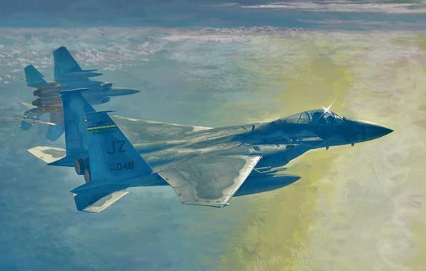 Picture f15 strike eagle, war, art, airplane, aviation, jet