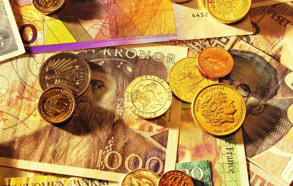 Picture money, coins, bills